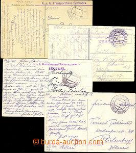 41180 - 1917-18 4x pohlednice přepravená EPA SCUTARI (SCHKODRA), v