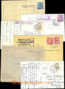 41206 - 1944-49 6ks lístků s razítky poštoven, např. TOPOLÁNKY