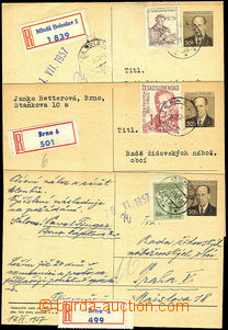 41242 - 1957 JUDAICA   3x R PC with report damage on/for life, healt
