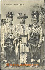 41259 - 1916 Bukovina - lidové kroje, čb pohlednice, prošlá, lom