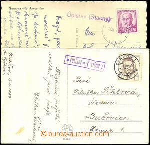 41271 - 1946-50 2 pohlednice prošlé poštovnami,   KULÍŘOV (Vyš