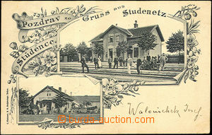 41286 - 1902 Studenec, railway-station and restaurant, 2-view collag