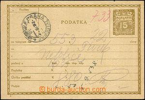41320 - 1925 CPL2Aa Podací lístek na tgm, česká mutace, olivová
