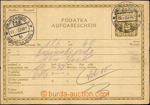 41321 - 1922 CPL2Ba Podací lístek na tgm, česko - německá mutac