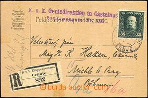 41351 - 1916 R FP card with 35H, Mi.35, CDS Etappenpostamt Cetinje 3