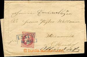 41426 - 1860? skládaný dopis vyfr. zn. Mi.14, modré rámečkové