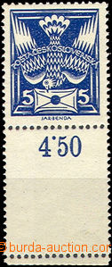 41513 - 1920 Pof.143A Pigeon-issue, with lower margin and blank fiel