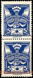 41516 - 1920 Pof.143A Pigeon-issue, vertical pair with double shifte