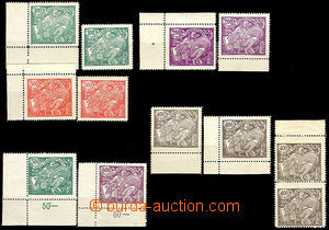 41565 - 1920 Pof.164A-169A, values 100-400h in two shades, in additi