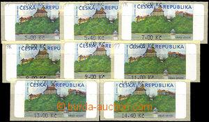 41696 - 2000 Pof.AT1 Veveří (castle) issue I, small set 8 pcs of w