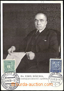 41760 - 1938 HÁCHA Emil (1872–1945), president Czechoslovak republic