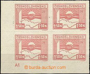 41846 - 1945 Pof.353, Košické 1,50K, rohový 4-blok s DZ A1, luxusní,