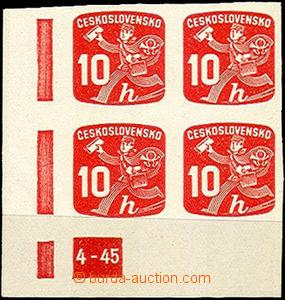 41853 - 1945 Pof.NV24, plate mark 4-45, L corner blk-of-4, mint neve