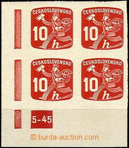41854 - 1945 Pof.NV24, plate mark 5-45, L corner blk-of-4, mint neve