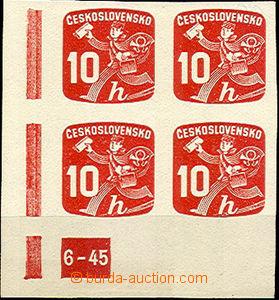 41855 - 1945 Pof.NV24, plate mark 6-45, L corner blk-of-4, mint neve