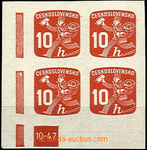 41856 - 1945 Pof.NV24, plate mark 10-47, L corner blk-of-4, c.v.. 70