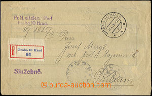 41902 - 1928 Reg letter liberated from postage, inverted official en