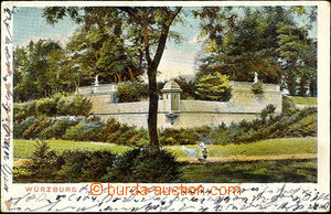 41921 - 1905 Würzburg, view from town park, color, long address, Us