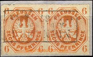 41936 - 1861 Mi.15a, 2-páska, celé rámečkové razítko Nienburg,
