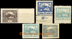42053 -  Pof.1C, 8C, 10D  comp. 5 pcs of stamp. - 1h with fake gutte