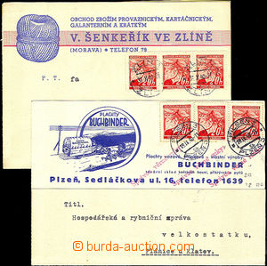 42276 - 1940 2 pcs of commercial PC, Buchbinder Plzeň with red over