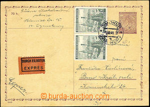 42279 - 1940 CDV7 sent as express, uprated with stamp Pof.35 2x, CDS