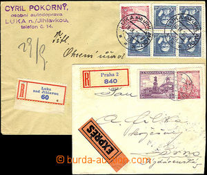 42283 - 1939 2 pcs of letters with mixed frankings, 1x Reg and Expre