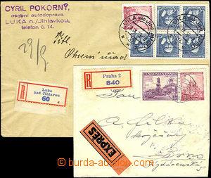 42283 - 1939 2ks dopisů se smíšenými frankaturami, 1x R+Ex dopis