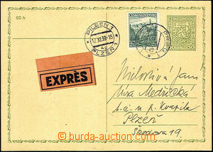 42285 - 1939 CDV65 sent as express, uprated by. parallel stamp. Pof.