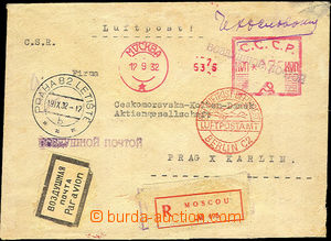 42298 - 1932 Reg and airmail letter addressed to to Czechoslovakia,