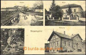 42317 - 1925 NEZAMYSLICE - 4-view,  B/W, dairy works, monastery, sch