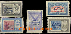 42421 - 1930 1930 ARGENTINA airmail set with blue overprint  Graf Ze