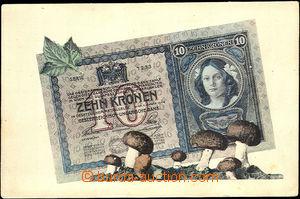 42535 - 1915 Bankovka ZEHN KRONEN and mushrooms, Un, bumped corners