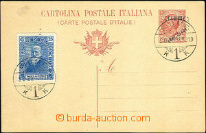 42567 - 1919 Italian PC 10c with overprint Mi.P8 uprated with stamp