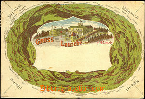 42609 - 1922 Luž (Lausche) - lithography, restaurant on/for top (of