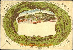 42609 - 1922 Luž (Lausche) - litografie, restaurace na vrcholu a kr