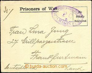 42613 - 1916 MALTA pre-printed envelope for war prisoner incl. conte