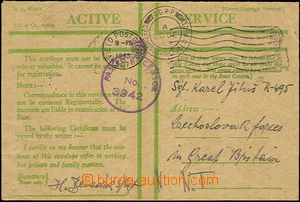 42624 - 1943 official envelope Active Service in/at green color, CDS