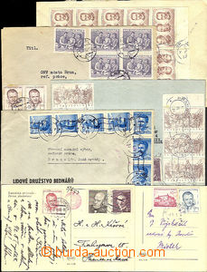 42651 - 1953 comp. 7 pcs of letters and 2 pcs of Ppc franked with. m