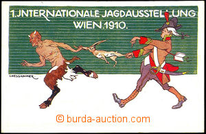 42657 - 1910 official postcard to 1. international hunting exhibitio