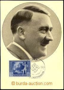 42661 - 1943 Hitler, photo in circle, in picture side mounted stamp.