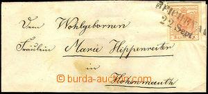 42683 - 1850 skládaný dopis vyfr. zn. I.emise 3Kr, III. typ, HP, M
