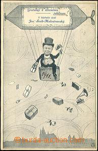 42700 - 1911 reklamní koláž, JŠM v koši zavěšeném pod vzducholodí, n