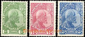 42750 - 1912 Mi.1-3x, kníže Johann II., stopy po více nálepkách