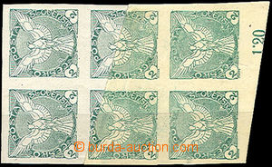 42778 - 1918 Pof.NV1 Sokol, vertical block of 6 with part of sheet m
