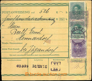 42807 - 1918 Austrian postal order without L cut, with Mi.186, 2x 22