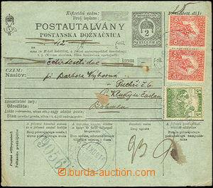 42809 - 1918 uherská poštovní poukázka 2f bez levého útržku,