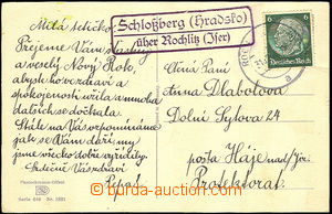 42827 - 1940 postcard with franking 6Pf with postal agency pmk Schlo