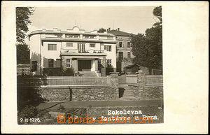 42845 - 1928 Zastávka u Brna, Sokolovna, čb fotopohled, nepoužit�