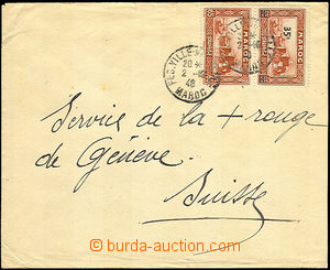 42853 - 1940 letter addressed to to Switzerland franked with. pair o